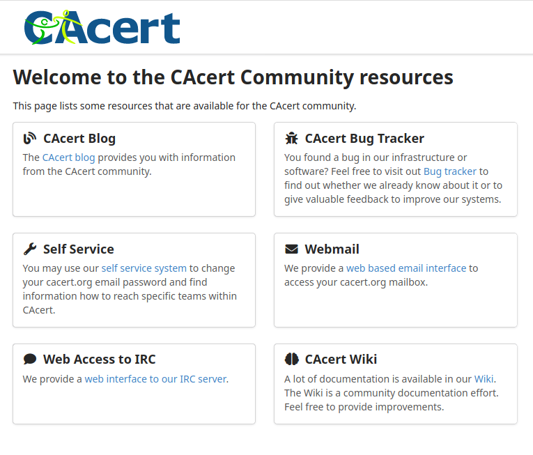Screenshot of community.cacert.org